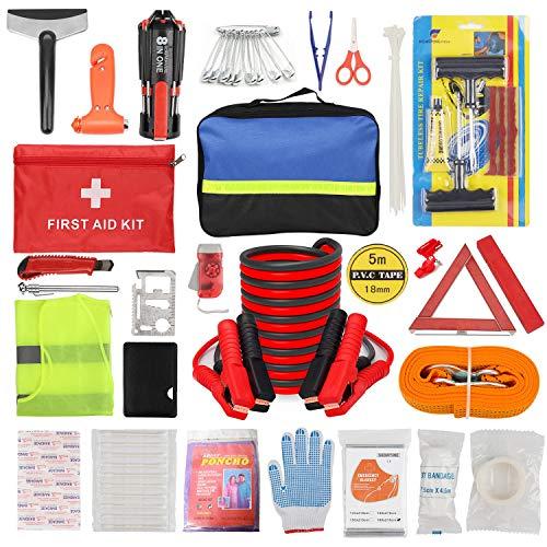 ZHSX Auto Emergency Kit, Auto Veiligheidsset voor voertuigen Boten met Premium Opbergtas
