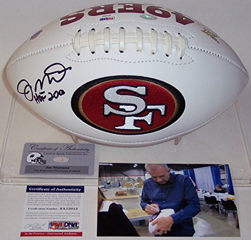 Joe Montana Autographed Hand Signed San Francisco 49ers Full Size Logo Football - with Hall of Fame 2000 inscription - PSA/DNA