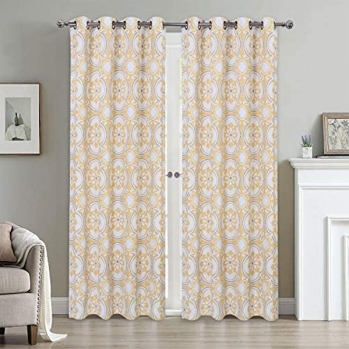 Haperlare Blackout Curtains, Medallion Print Thermal Insulated Grommet Curtain Panels for Living Room, Medallion Floral Pattern Window Treatment, W52 x L95 Inch, 2 Panels, Yellow Light Grey