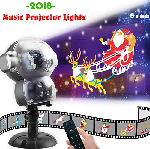 JEESA Christmas Projector Lights, Outdoor Christmas Decorations Music Snow Animated Projector with Remote Control LED Snowfall Hallowee Projector Decorative Lighting for Holiday Party Home Yard Garde -