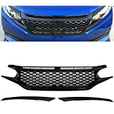 Racingbees 2016-2018 Honda Civic 2/4DOOR SEDAN COUPE PERFROMANCE STYLE FRONT GRILL GRILLE PAINTED GLOSSY BLACK