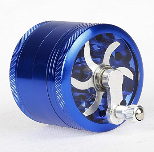YiFeng-Aluminum-4-Layer-Grinder-For-Herb-Spice-Tobacco-with-Crank-Handle-Sifter-Pollen-Catcher-63mm-Blue