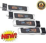Powerhobby 210mAh 45C x4 - Flight Time and Power Battery Upgrade - Fits All: Blade Nano QX, QX FPV, Tiny Whoop,UMX Radian, Blade Inductrix, Champ, Sport Cub S, nano cp s, inductrix fpv,