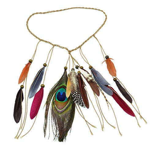 Peacock Faux Feather Boho Tassel Headband Indian Feathers -