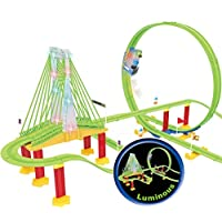 Haktoys Upgraded Luminous LOCO Track Racer Glow in the Dark Roller Coaster Building Entertaining Playset, LED Lights on Bridge & Locomotive Train, Safe and Durable, Gift Fun Toy for Toddlers and Kids
