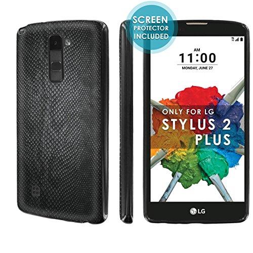 [Nakedshield] Slim Flexi Case For [LG Stylo 2 Plus] [MS550 K530] [Black] Total Armor Rubber Gel Phone Case [Screen Protector]- [Black Snake Skin] Print (Snakeskin Protector Case)