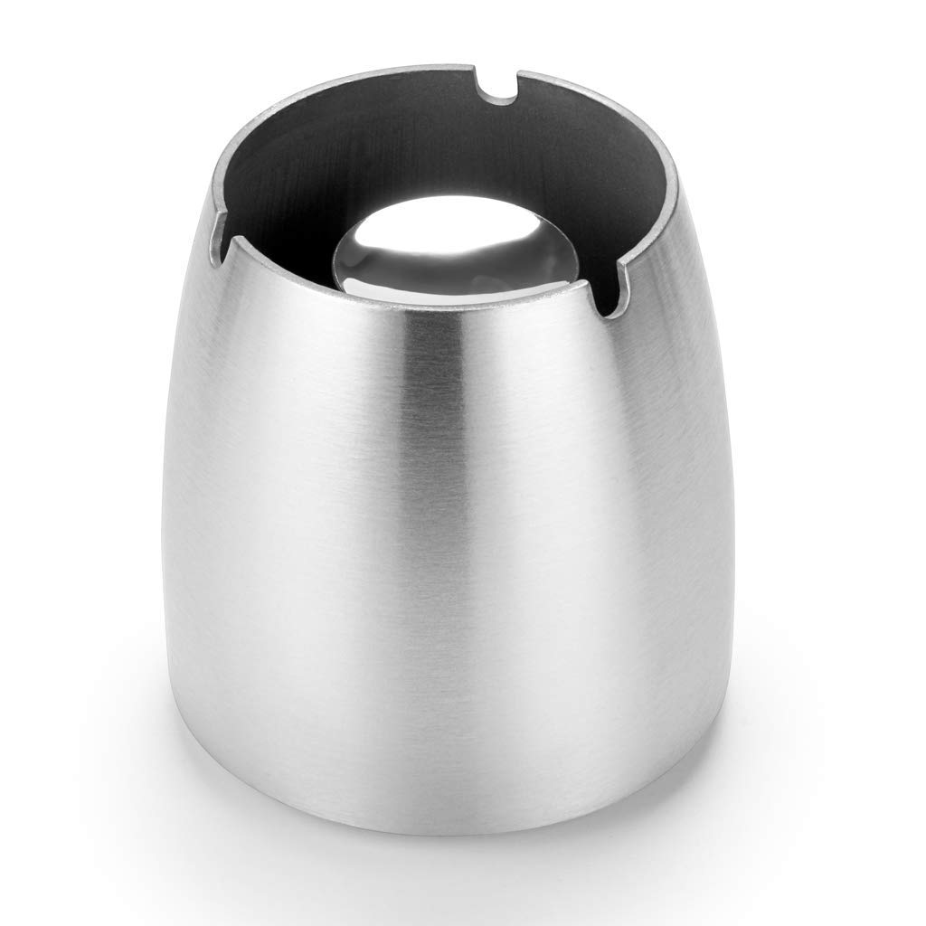 FOXAS Large Ashtray Windproof Ashtray Ash Holder Stainless Steel Ashtray Ash Tray for Home/Office Silver Silver
