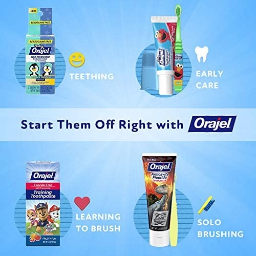 51P7UhihoUL. AC - Orajel My Little Pony Fluoride-Free Training Toothpaste, Pinky Fruity Flavor, One 1.5oz Tube: Orajel #1 Pediatrician Recommended Brand For Kids Non-Fluoride Toothpaste