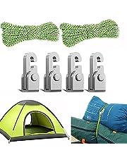 4-delige automatische vergrendelingshaak, zelfsluitende vrije knoop gemakkelijk aandraaien touwset met touw, campingtent touwafsteller, multifunctionele bindende hangende bevestigingstool