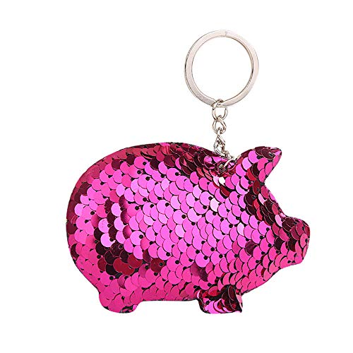 Fashion Bright Keychain Cute Pig Sequin Hanging Bag Pendant Car Key Chains for Women Charms