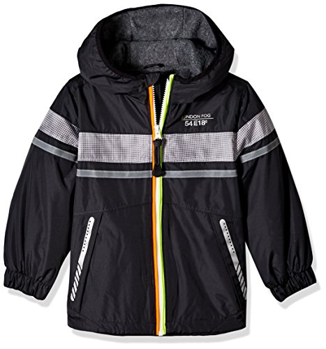 (London Fog Boys' Toddler Chest Strip Poly Lined Jacket, Real Gray, 4T )