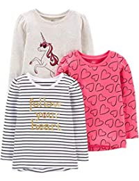 Toddler Girls' 3-Pack Graphic Long-Sleeve Tees