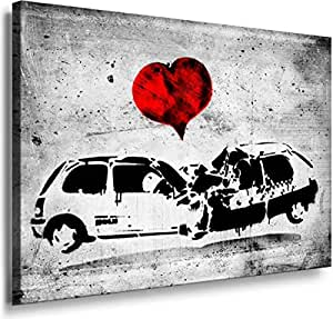 Banksy Graffiti Street Art -1183, Size 100x70x2 Cm. Printed On Canvas Stretched On A Wooden Frame.
