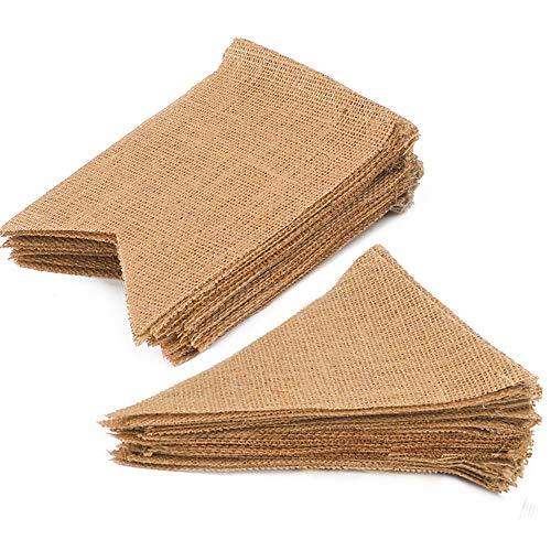 RUBFAC 48 Pcs Burlap Banner and Pennant Banner Rustic Banner DIY Decoration for Birthday, Wedding, and Baby Shower Decoration -