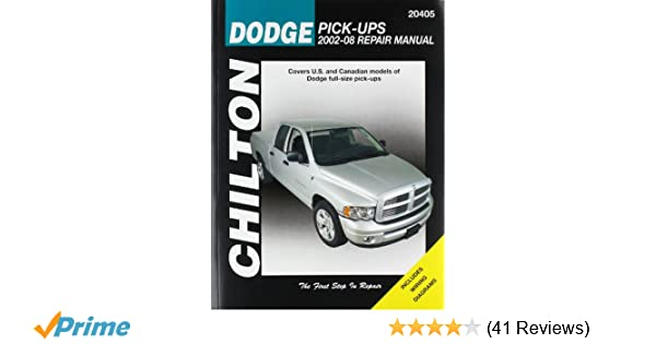 Dodge pick ups 2002 2008 chiltons total car care repair manual dodge pick ups 2002 2008 chiltons total car care repair manual chilton 9781563927638 amazon books fandeluxe Image collections