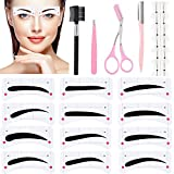 Eyebrow Makeup Tools Set Includes 96 Pairs Eyebrow Stencil Stickers, 12 Pieces Connection Card, Eyebrow Tweezer Eyebrow Brush Eyebrow Scissors Eyebrow Razor