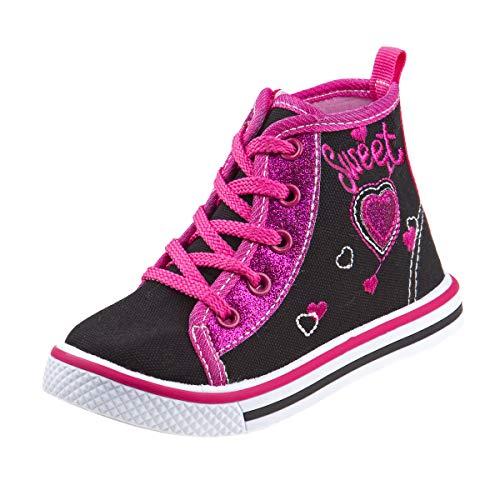 Laura Ashley Girls Side Zipper High Top with Glitter & Studs, Black Heart, 8 Toddler'