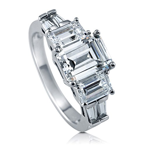 [BERRICLE Rhodium Plated Sterling Silver Emerald Cut Cubic Zirconia CZ 3-Stone Engagement Ring Size 8] (Emerald Cut Cubic Zirconia Ring)