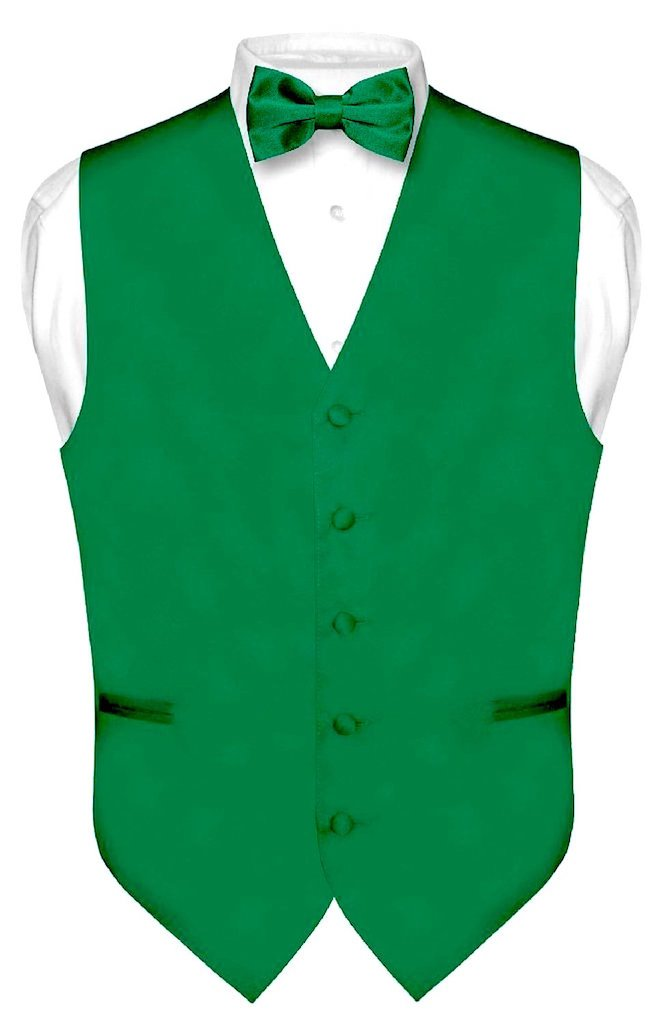 Exclusive Distributor Men's Solid Vest & Bow Tie Set (2XL-Emerald Green)
