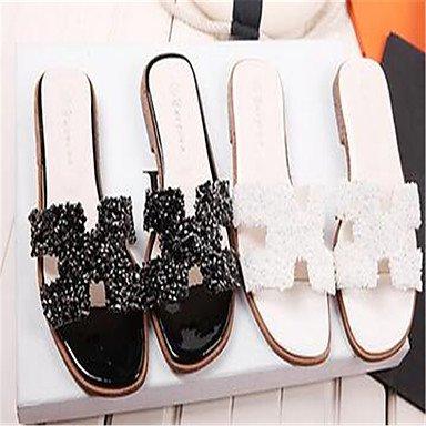 LFNLYX Las mujeres sandalias de verano otros PU talón plano exterior en blanco y negro Otros Otros Black