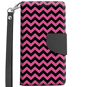 LG Leon Wallet Case - Chevron Zig Zag Pink and Black