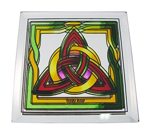 10cm Stained Glass Loose Coaster Trinity Knot With A Red & Yellow Design