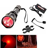X.YSHINE Tactical Flashlight of HS-802 350 Lumens Cree Q5 Red Light Coyote Hog with Remote Pressure Switch+ Barrel Mount+ 18650 Rechargeable Battery+ Charger Perfect for Hunting & Fishing