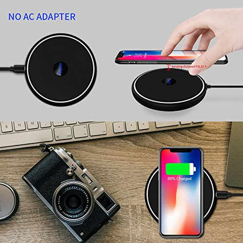 Large Product Image of Yoyufer iPhone X Wireless Charger(10W) Fast wireless charger for Apple iPhone 8 iPhone 8 Plus Samsung Galaxy S9 Note 8 S8 S8 Plus S7 S7 Edge Note 5 S6 Edge Plus with special LED indicator light