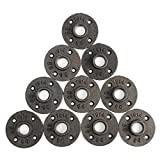 "KINGSO 10 Pack 3/4'' Black Malleable Iron Floor Flange Pipe Fittings, Perfect for Industrial Pipe Furniture and DIY Decor (3/4"") (3/4'' Flange)"