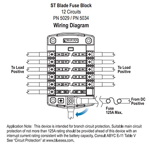 51P7XEy0xTL amazon com blue sea systems st blade 12 circuit fuse block blue blue sea fuse block wiring diagram at soozxer.org