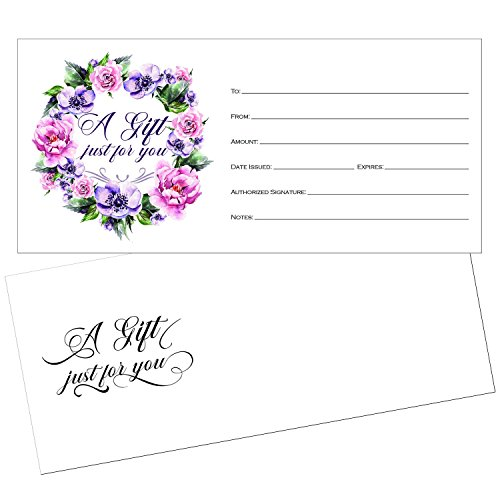 25 4x9 Cute Blank Gift Certificate Cards for Business with Envelopes, Restaurant, Spa Beauty Makeup Hair Salon, Wedding, Bridal, Baby Shower Print Custom Personalized Bulk Template Kit Forms - Adams Certificates Gift