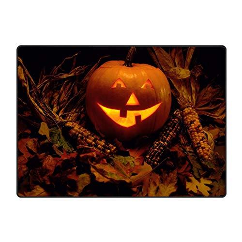 Area Rugs, Bedroom Livingroom Sittingroom Floor Rug Carpet Blanket for Children Play Home Decorate-Halloween Pumpkin Jacks Lantern Physiognomy
