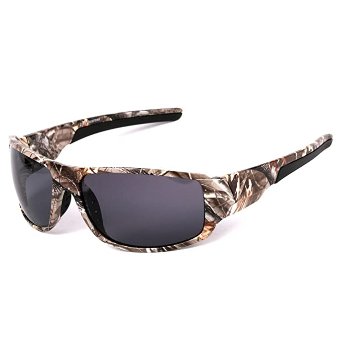 Polaroid Sonnenbrille zum Angeln für Herren, mit Camouflage-Rahmen, für Aktivitäten im Freien wie Sport, Jagd, Angeln, unisex, Lenses colour:Polarized blue film
