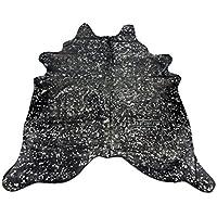 Silver on Black ~ Natural Brazilian Cowhide Rug