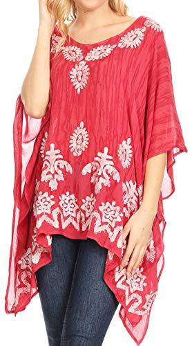 Sakkas 1802 - Alizia Lightweight Embroidery Batik Top Tunic Blouse Caftan Cover up Poncho - Blush - OS