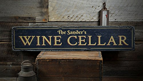 Family Cellars (Family Wine Cellar Wood Sign, Personalized Wine Lover Gift Name Sign, Wine Room Bar Decor - Rustic Hand Made Vintage Wooden Sign - 5.5 x 24 Inches)