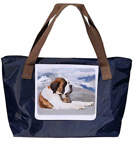 Shopper /Schultertasche / Einkaufstasche / Tragetasche / Umhängetasche aus Nylon in Navyblau - Größe 43x33cm - Motiv: Bernhardiner Porträt - 02
