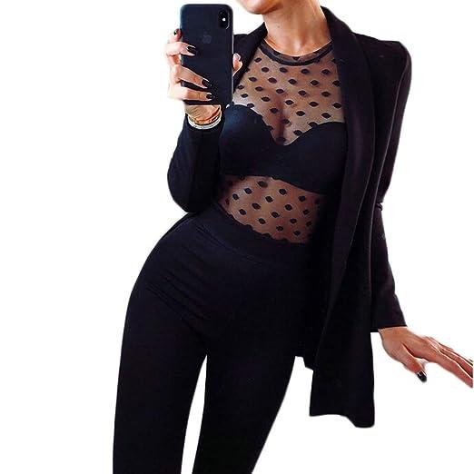 8121c5504e9f Women Sexy See Through Mesh Sheer Shirts Long Sleeve Polka Dot Clubwear  Blouse Night Out Tops