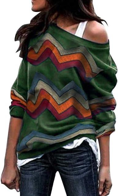 Sudadera para Mujer, Moda Manga Larga Casual Fuera del Hombro Sudaderas Cortos Cuello Redondo Jersey Mujer Otoño Primavera Blusa Tops Tumblr Suéter Mujer Abrigo Deportiva: Amazon.es: Ropa y accesorios