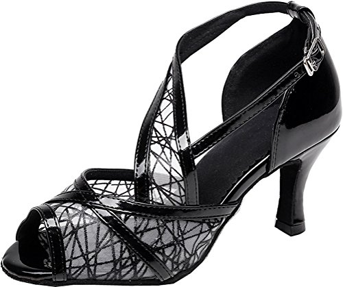Salabobo AQQ-7075 Womens Latin Wedding Party Tango Peep Toe High Heel PU Mesh Dance Shoes Black c7RJReWeSl