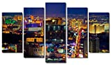 Picture Sensations Framed 5-Panel canvas Art Print, Las Vegas Casino City Skyline - 60''X36''