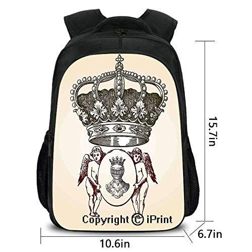 Outdoor Travel Backpack,Illustration Shield Design Art with Crest Badge Medallion Angel Royal,School Bag :Suitable for Men and Women,School,Travel,Daily use,etc.Cream Maroon Sepia