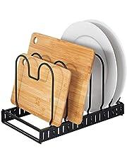 WENKO Deksel- en pannenhouder, uittrekbare serviesstandaard voor deksel en pannen, gepoedercoat metaal, 30-57 x 18 x 18 cm, zwart