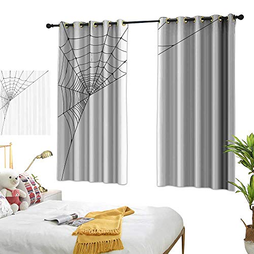 Warm Family Blackout Curtains Modern Spider Web Icon Background Abstract Form Halloween Scary Evil Themed Illustration Noise Reducing 63