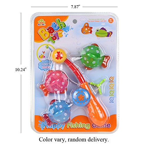 Bath toy fishing game with cute spotted fish and fishing for Fishing games for girls