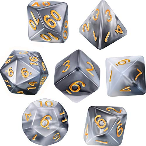 Polyhedral 7-Die Dice Set for Dungeons and Dragons with Black Pouch (Black White)