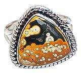 Ocean Jasper Ring Size 8.75 (925 Sterling Silver) - Handmade Jewelry RING858243