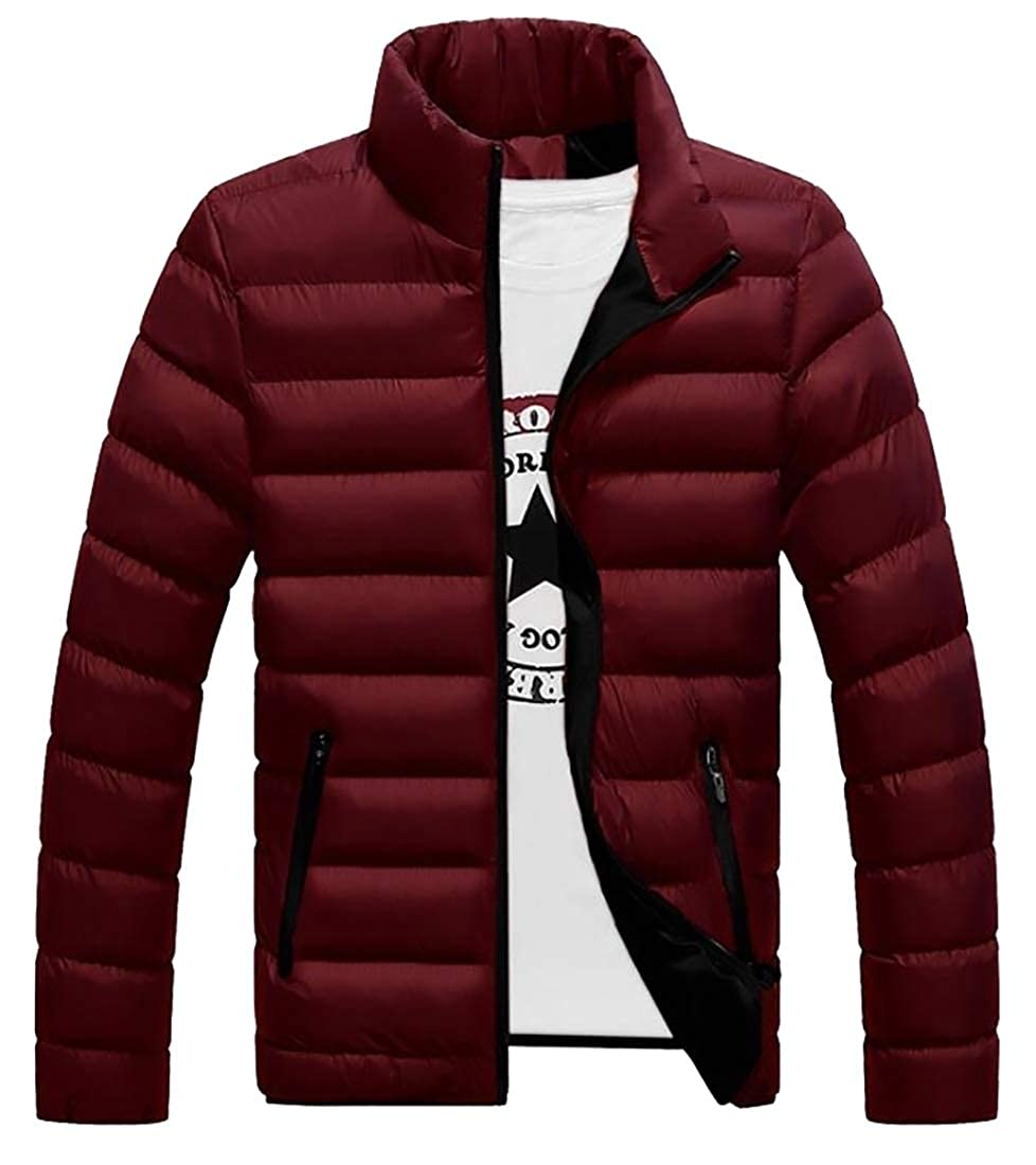 Yayu Mens Vintage Lightweight Long Sleeve Stand Collar Packable Down Jacket
