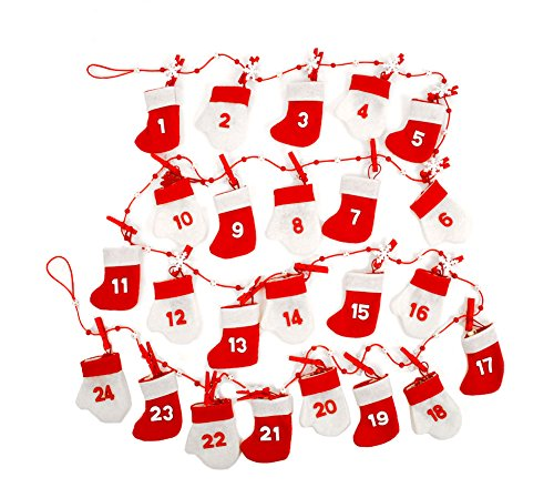 es Red & White Reusable Felt Christmas Advent 24 Days Calendar Garland Decoration (Mitten Garland)
