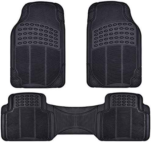 All Weather Solid Black Rubber Trimmable Front & Rear 3 Pieces Universal Car Van Truck Floor Mats Set